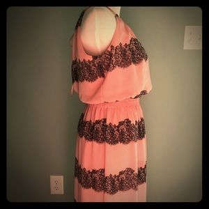 Pink and black maxi dress.